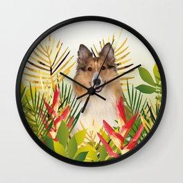Collie Dog sitting in Garden Wall Clock