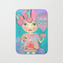 Be Free Mixed Media Whimsical Girl Bath Mat