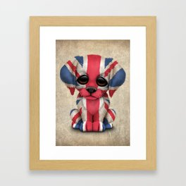 Cute Puppy Dog with flag of Great Britain Framed Art Print