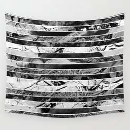 Black And White Layered Collage - Textured, mixed media Wall Tapestry
