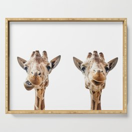Funny Giraffe Portrait Art Print, Cute Animals, Safari Animal Nursery, Kids Room Poster, Wall Art Serving Tray