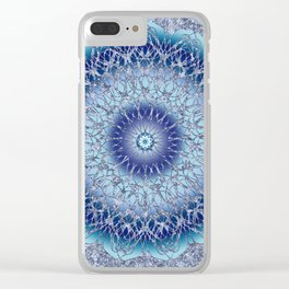 Frosted Lotus Mandala Blue Clear iPhone Case