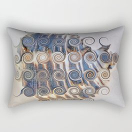 26 BEAUTIFUL ABSTRACT CURLS - BLUE AND WHITE STRIPED SEA SHELL Rectangular Pillow