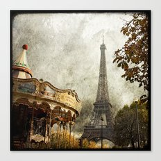 The Carousel and the Eiffel Tower - Paris Canvas Print