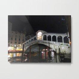 The Rialto Bridge At Night  Metal Print