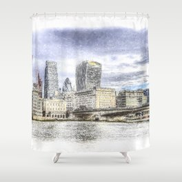 City of London and River Thames Snow Art Shower Curtain