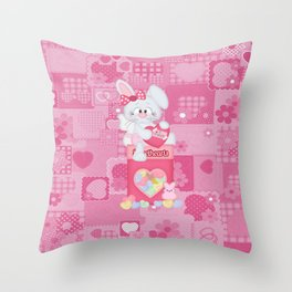 Valentines Bunny and Conversation Hearts Candy Throw Pillow