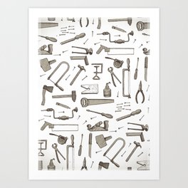 tools pattern Art Print