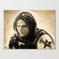 bucky barnes Canvas Prints featuring Barnes by rnlaing