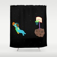 basketball Shower Curtains featuring Space Basketball by Emma Shepherd