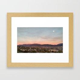 Moon rise over Santa Fe Framed Art Print