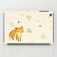 hair iPad Cases featuring Lonely Winter Fox by Teagan White