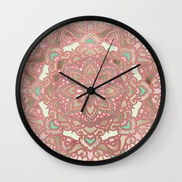 Rose gold cyan mandala Wall Clock