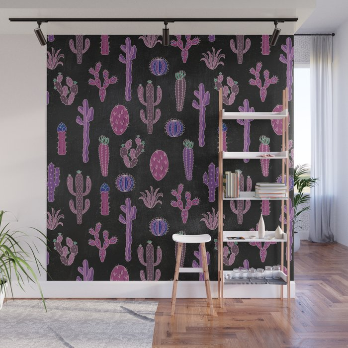 Cactus Pattern On Chalkboard Wall Mural