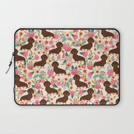 Doxie Florals - vintage doxie and florals gift gifts for dog lovers, dachshund decor, chocolate and Laptop Sleeve