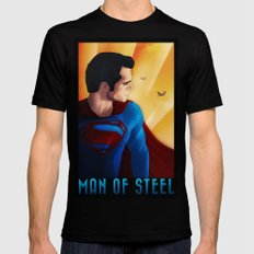 Man of Steel Mens Fitted Tee Black SMALL