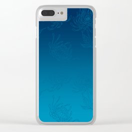 Ombre Ocean Blue Dahlia Flowers Clear iPhone Case