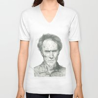 clint eastwood V-neck T-shirts featuring Clint Eastwood by theMAINsketch