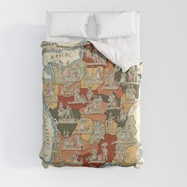 1951 Vintage Map of France and its provinces. Duvet Cover