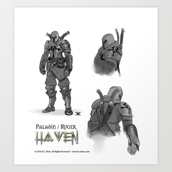 Ruger - Paladin Concept Art -Haven Book Series Art Print