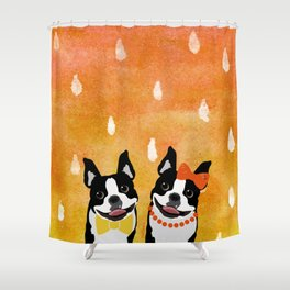 Boston Terriers Watercolor Shower Curtain