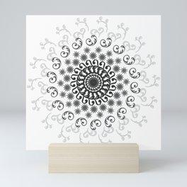 White, Black, Silver and Gray Mandala on Light Background Mini Art Print