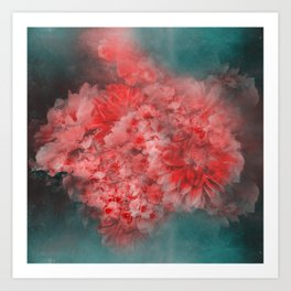 Abstract Red Flowers Art Print