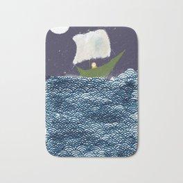Green Boat Whimsical Illustration Bath Mat
