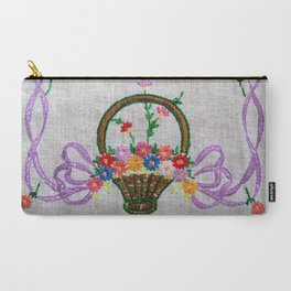 Flower Basket Embroidery Carry-All Pouch
