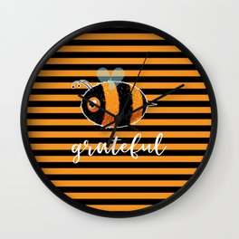 Be (Bee) Grateful Cute Funny Gift Women Men Boys Girls Kids Wall Clock