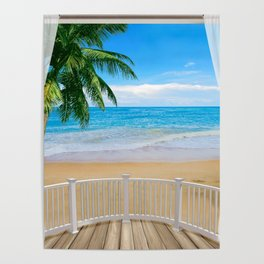 Balcony with a Beach Ocean View Poster