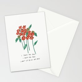 I Touch You Once I Touch You Twice Red Flower Illustration If You Leave Lyric Stationery Cards