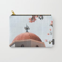 Summer In Greece Art Print   Pink Flowers Photo   Crete Island Holiday   Europe Travel Photography Carry-All Pouch