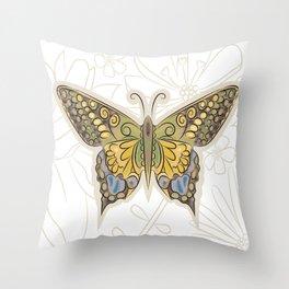 Antique Butterfly Throw Pillow