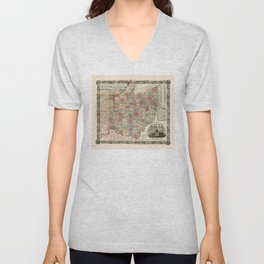 Colton's township map of the State of Ohio (1851) Unisex V-Neck