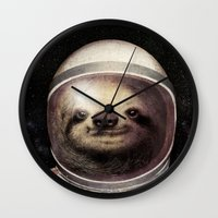 sloth Wall Clocks featuring Space Sloth  by Eric Fan