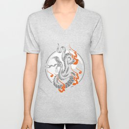 Yin Yang Symbol Snake Harmony Yoga Zen China Gift Unisex V-Neck