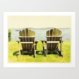 Adirondack Chairs, Maine Art Print