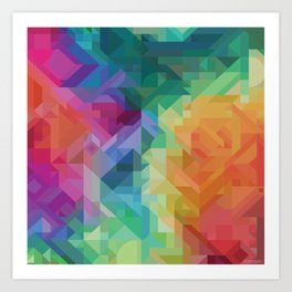 MODERN 2000 Print! // RAINBOW MULTI COLOR GEOMETRIC PRINT Art Print