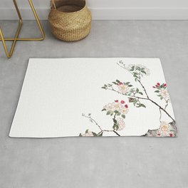 pink cherry blossom Japanese woodblock prints style Rug