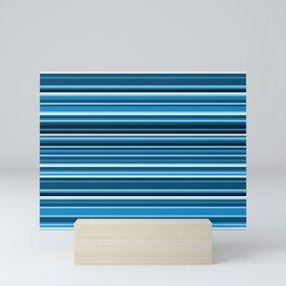 Dark Sea Breeze Horizontal Variegated Blue and White Stripes Mini Art Print