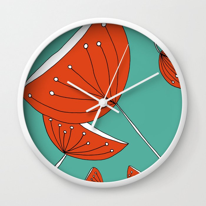 Whimsical Red and Teal Nature Drawing by Emma Freeman Designs Wall Clock