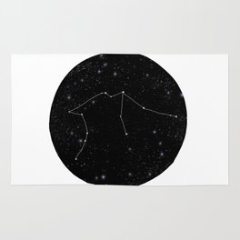 Aquarius constellation star sign zodiac black and white art gifts Rug