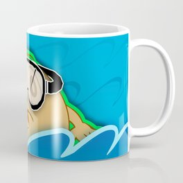 Swimmer Cartoon Character with Goggles in Water Coffee Mug