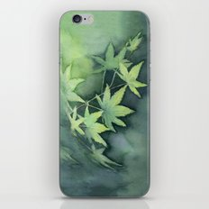 Japanese Maple Watercolor Green Leaves Tree Branch Nature iPhone & iPod Skin