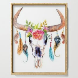 Floral and Feathers Adorned Bull Skull Serving Tray