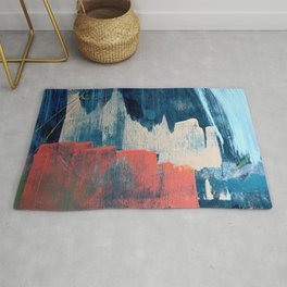 Deep Waters: a vibrant, minimal, abstract painting in pinks and blues by Alyssa Hamilton Art Rug