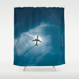 Lonely airplane in the blue sky Shower Curtain