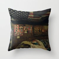 cabin Throw Pillows featuring Cabin by Francesca Bryk