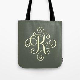 K Monogram - Sage Green Tote Bag
